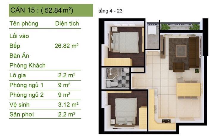 Thiết kế Sài Gòn South Plaza căn hộ góc Số 15 2 phòng ngủ