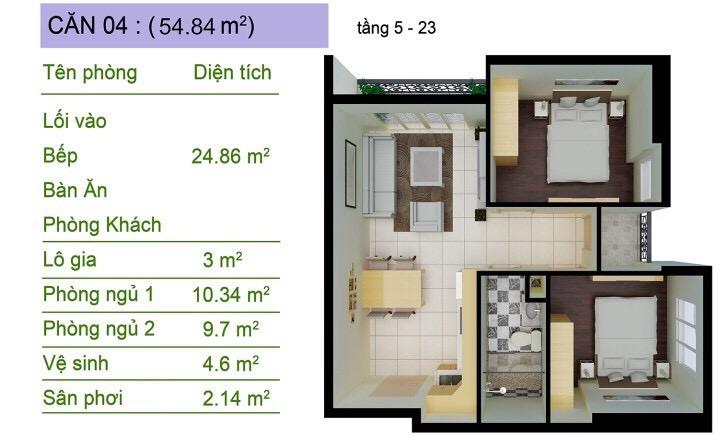 Thiết kế Sài Gòn South Plaza căn hộ góc số 4 2 phòng ngủ