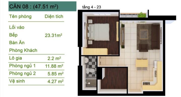Thiết kế Sài Gòn South Plaza Căn (08) 1,5 phòng ngủ