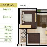 Thiết kế Sài Gòn South Plaza căn hộ sô 13,14 1,5 phòng ngủ