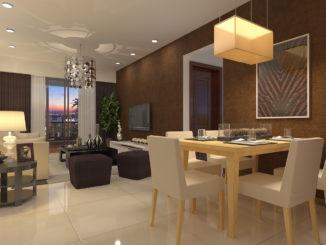 Không gian phòng khách căn hộ mẫu Sài Gòn South Plaza