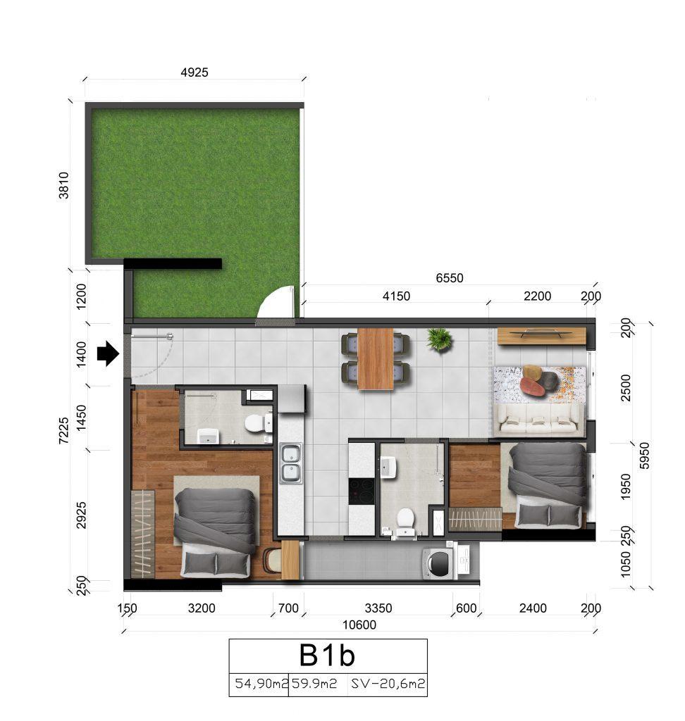 Căn hộ 2 phòng ngủ 80m2 Sân Vườn Marina Tower