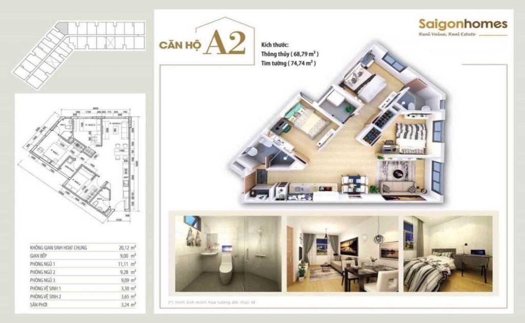 Căn Hộ Loại A2 - 74m2 - 3PN - 2WC Saigon Homes Bình Tân