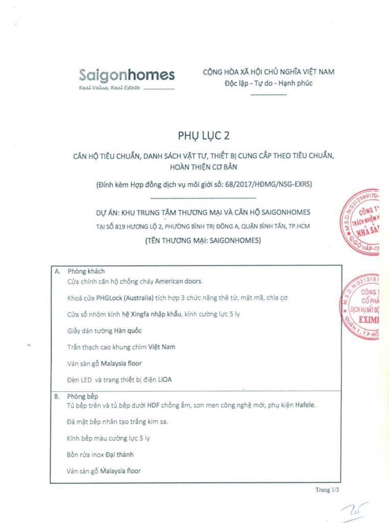Phụ lục nội thất dự án căn hộ Saigon Homes Bình Tân