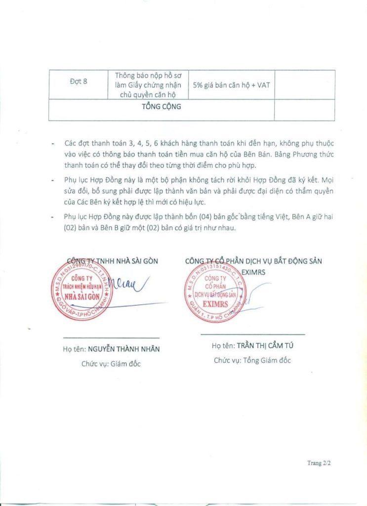Phụ lục phương thức thanh toán dự án căn hộ Saigon Homes Bình Tân (2)