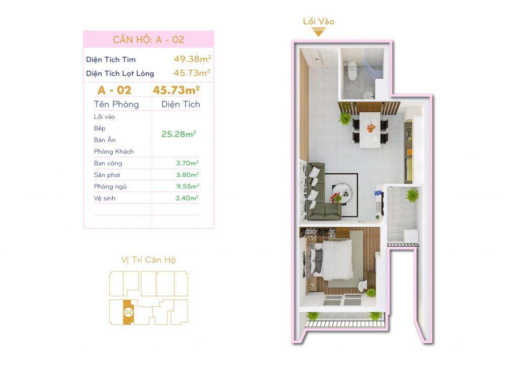 Căn 1PN Dự án căn hộ Thiết kế Orchid Park Phú Xuân Nhà Bè