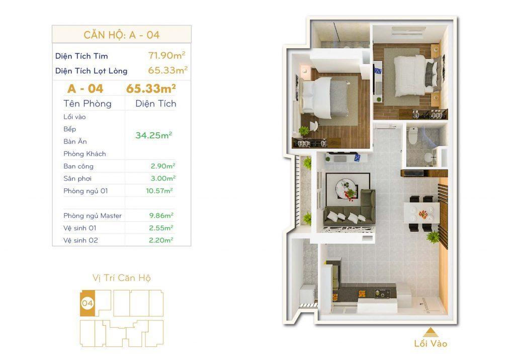 Căn 2PN Dự án căn hộ Thiết kế Orchid Park Phú Xuân Nhà Bè
