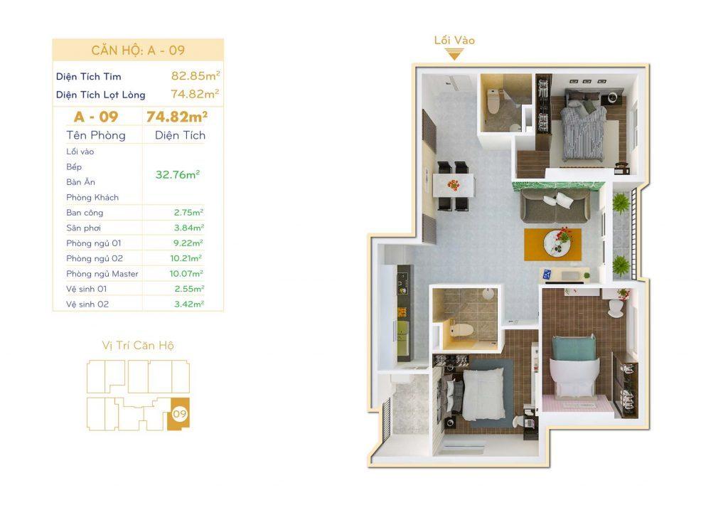 Căn 3PN Dự án căn hộ Thiết kế Orchid Park Phú Xuân Nhà Bè