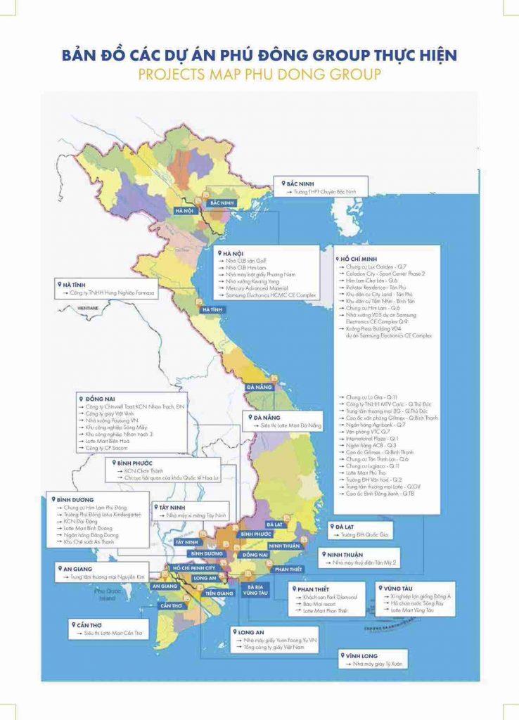 Phú Đông Sky Garden - Bản đồ dự án Phú Đông Group triển khai