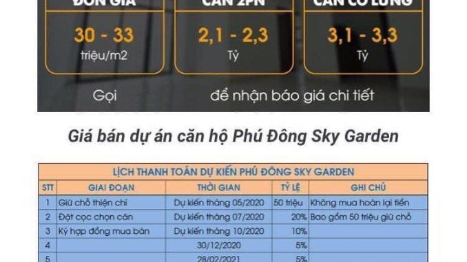 Phú Đông Sky Garden - PTTT và Giá bán