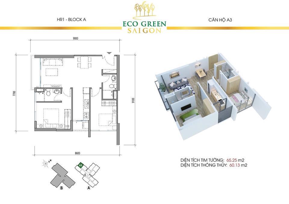 Căn 2 Phòng Ngủ A3 Eco Green Quận 7