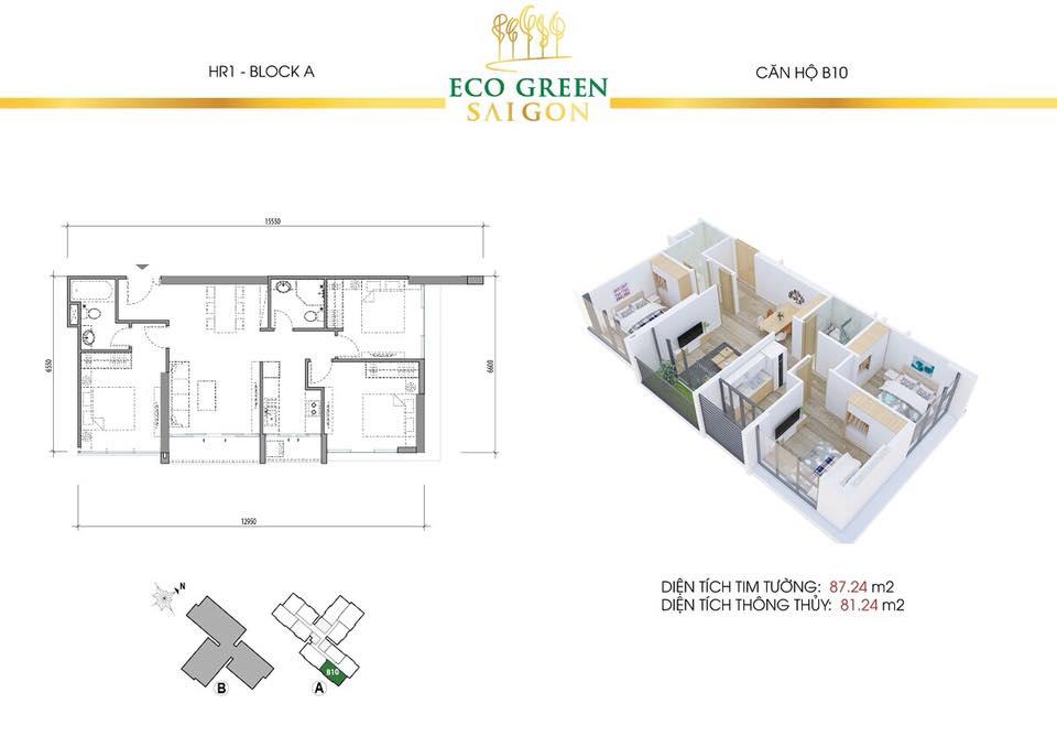 Căn 3 Phòng Ngủ B10 Eco Green Saigon