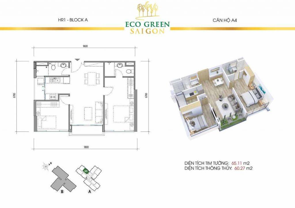Căn hộ A4 2 Phòng Ngủ Eco Green Saigon
