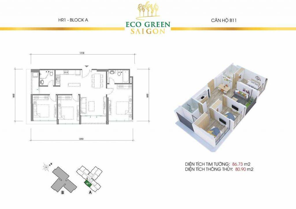 Căn hộ B11 3 Phòng Ngủ Eco Green Saigon