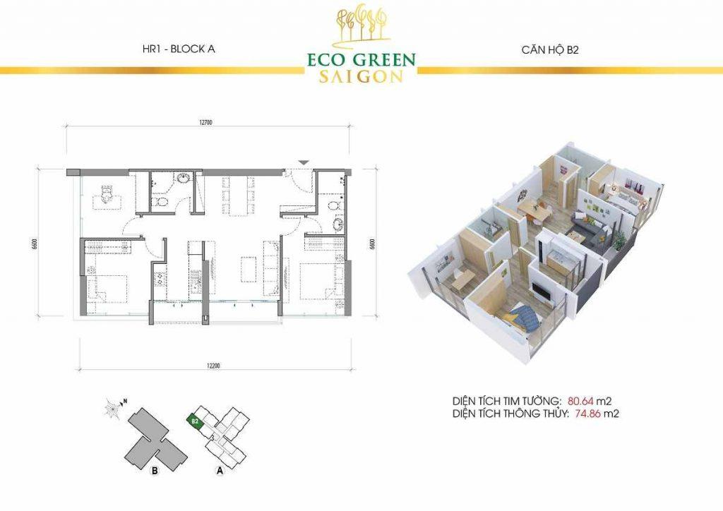 Căn hộ B2 2 Phòng Ngủ Eco Green Saigon