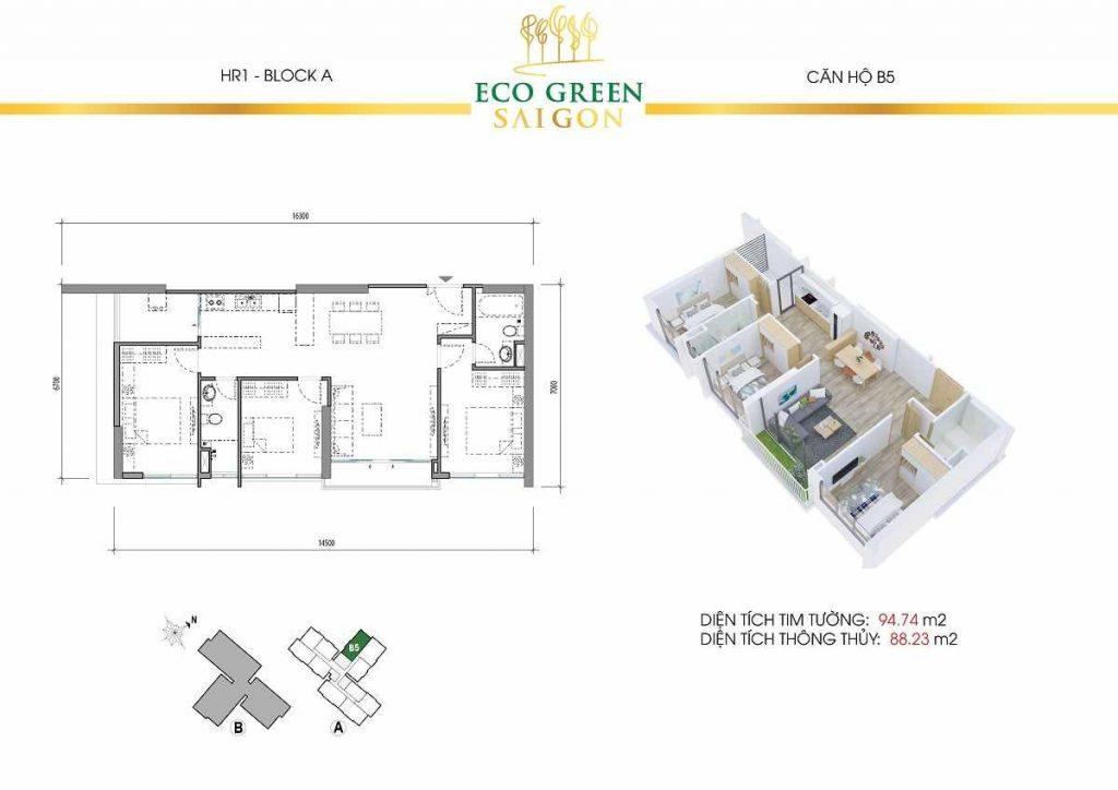 Căn hộ B5 3 Phòng Ngủ Eco Green Saigon