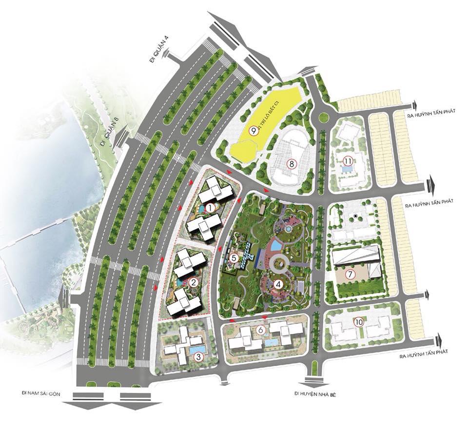 Mặt bằng chung dự án căn hộ cao cấp Eco Green Saigon Quận 7