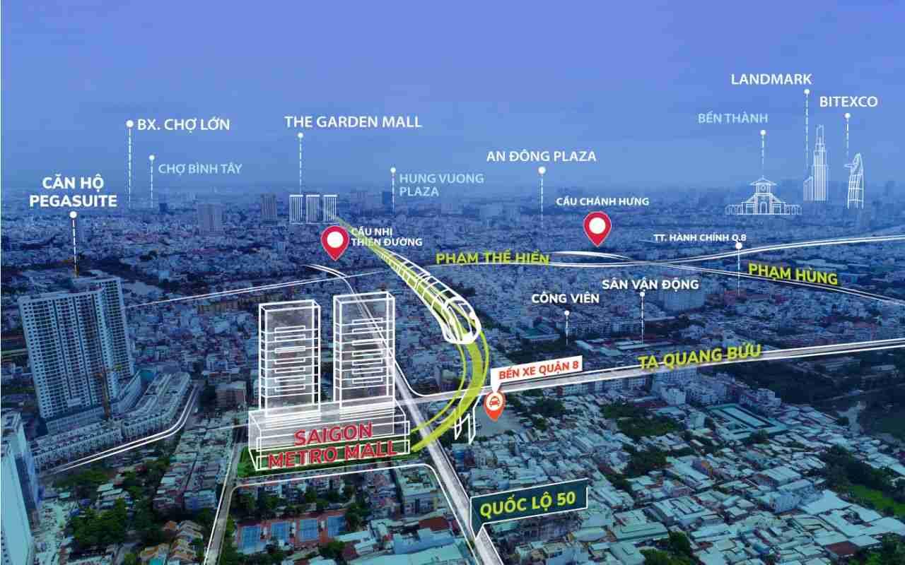 Vị trí Dự án Shop House - Kiot Saigon Metro Mall Quận 8