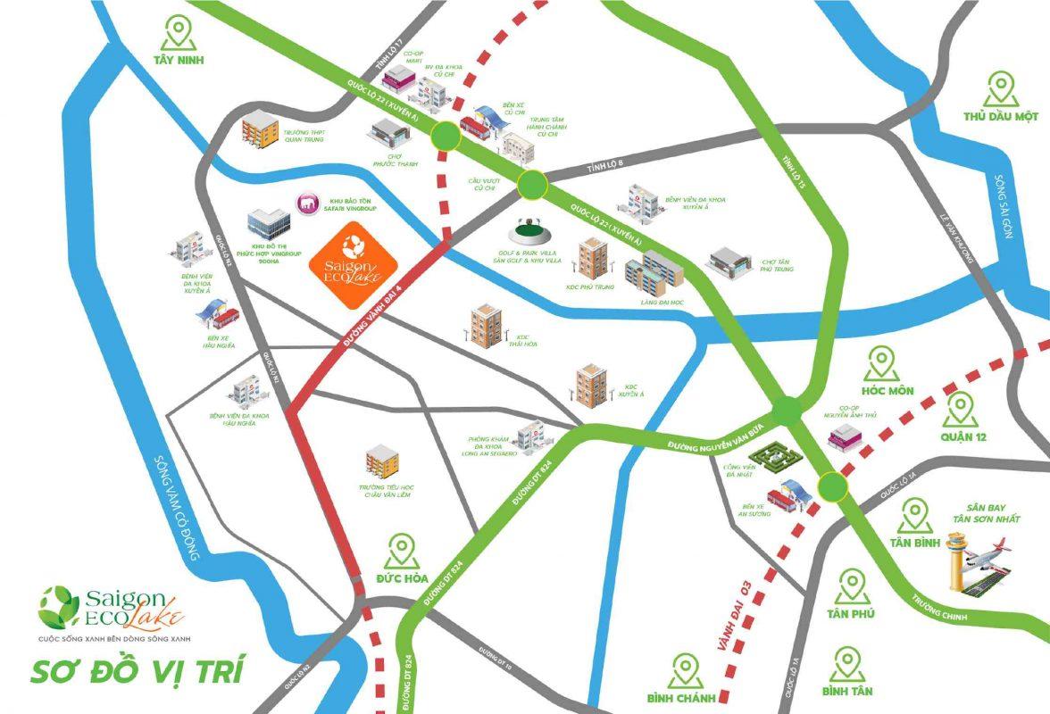 Vị trí dự án đất nền Saigon Eco Lake
