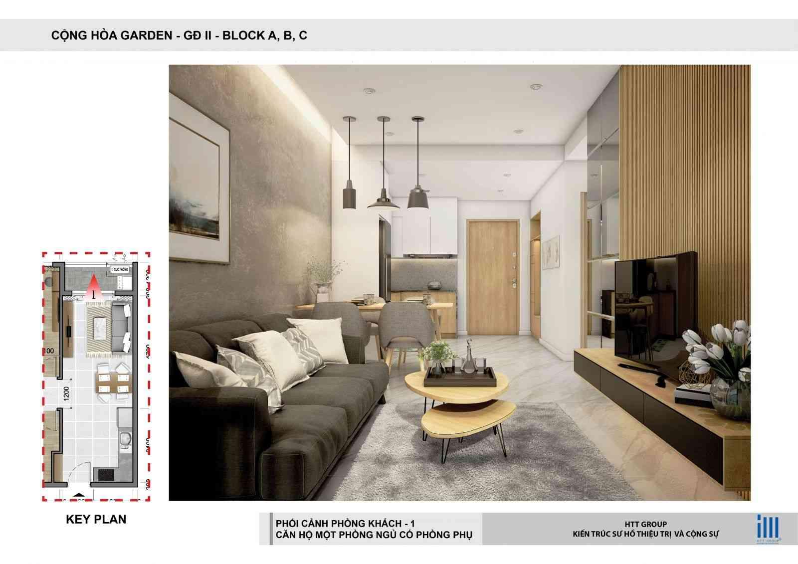 Phòng khách Dự án căn hộ chung cư Cộng Hoà Garden Quận Tân Bình