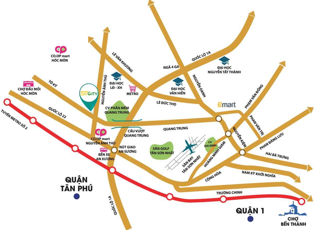 Vị trí dự án căn hộ chung cư ST City Hóc Môn TPHCM