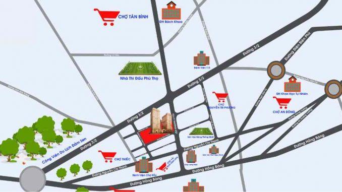 Vị trí dự án căn hộ chung cư Tân Phước Plaza Lý Thường Kiệt Quận 11