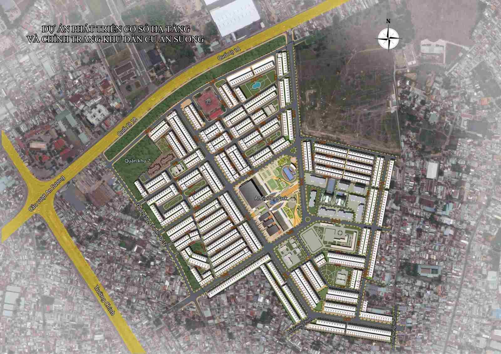 Mặt bằng Dự án đất nền khu dân cư An Sương Quận 12