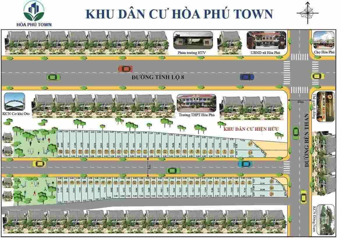 Mặt bằng phân lô khu dân cư Hòa Phú Town Củ Chi