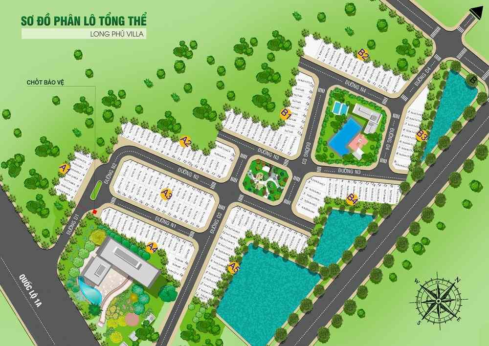 Phân lô tổng thể Vị trí dự án đất nền nhà phố khu dân cư đô thị Long Phú Villa Bình Chánh - Trần Anh