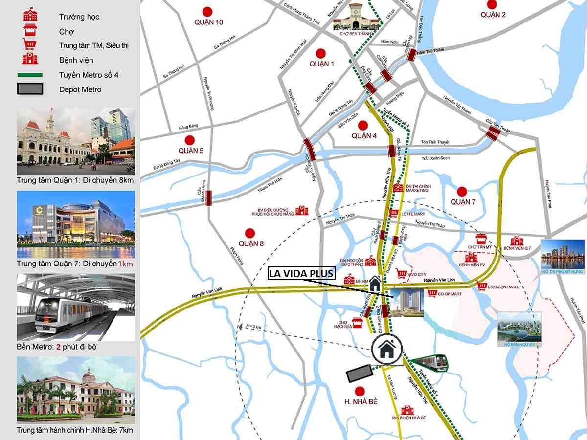 Vị trí - Chung cư căn hộ đường Nguyễn Hữu Thọ Quận 7
