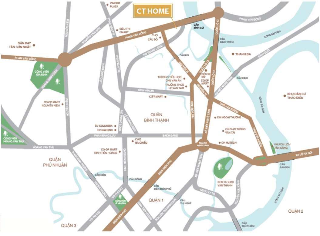 Vị trí Dự án căn hộ CT Home Nơ Trang Long - Phạm Văn Đồng Quận Bình Thạnh