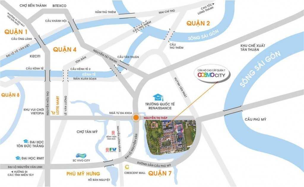 Vị trí Dự án căn hộ chung cư Cosmo City Nguyễn Thị Thập Quận 7