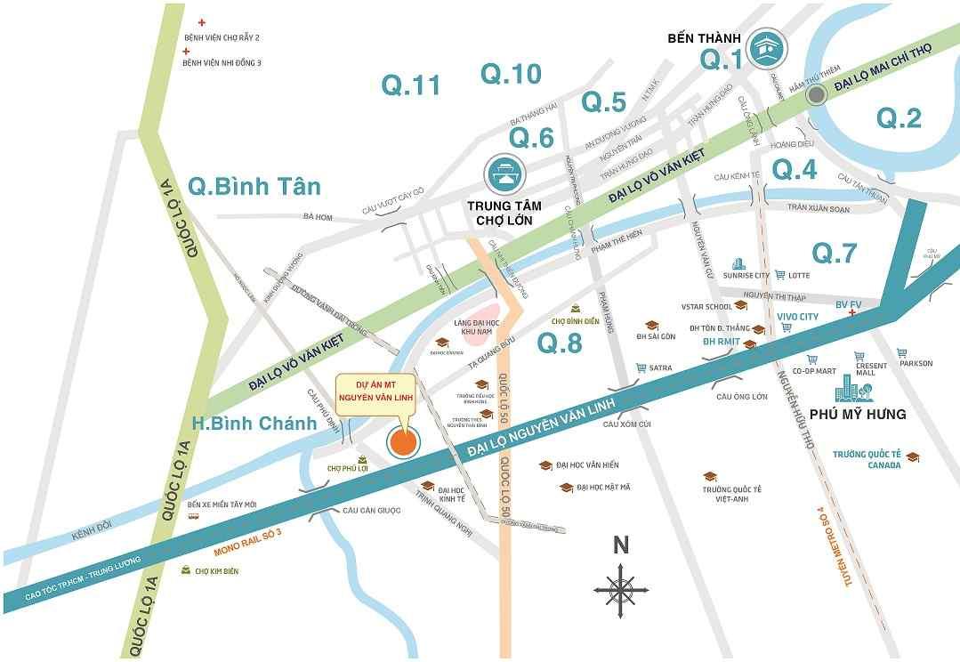 Vị trí Dự án căn hộ chung cư Smart Home Nguyễn Văn Linh Bình Chánh
