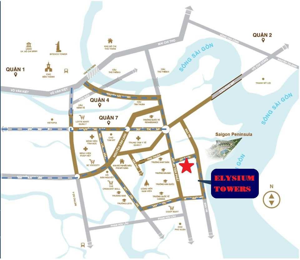 Vị trí Phối cảnh dự án căn hộ chung cư Elysium Tower Gò Ô Môi - Quận 7