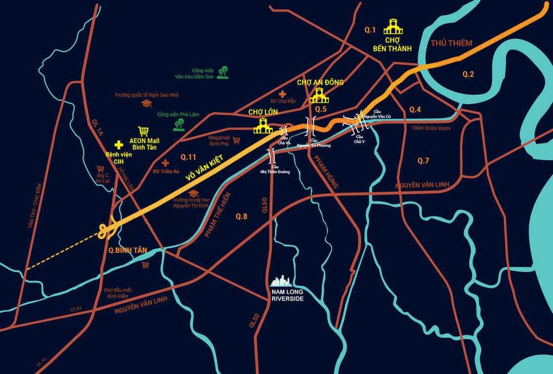 Vị trí dự án Nam Long Riverside Quốc Lộ 50 Bình Chánh
