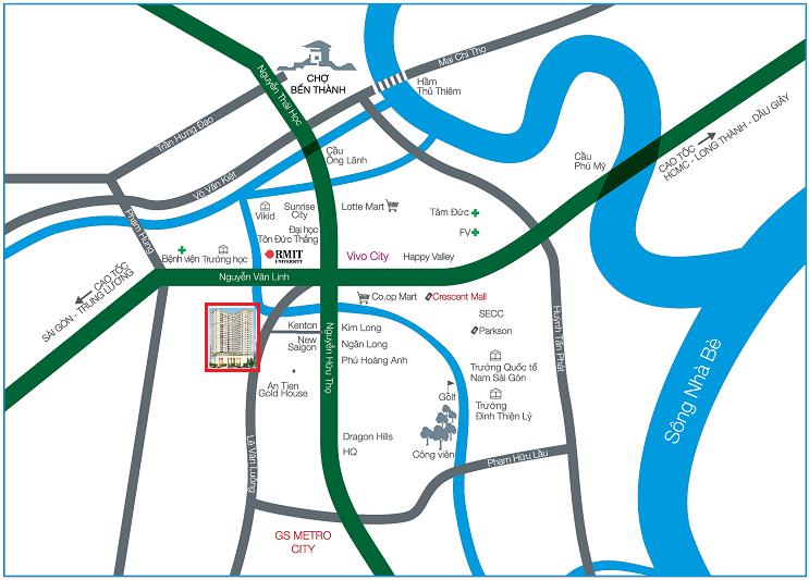 Vị trí dự án căn hộ Goldora Plaza Lê Văn Lương