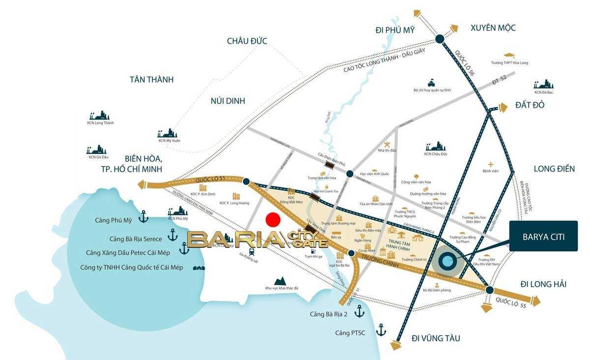 Baria City Gate - Vị trí Dự án đất nền Baria City Gate Bà Rịa Vũng Tàu