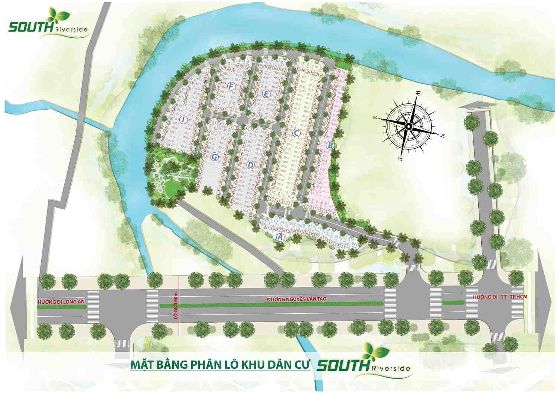 Mặt bằng phân lô Dự án đất nền khu dân cư South Riverside Nhà Bè Quận 7