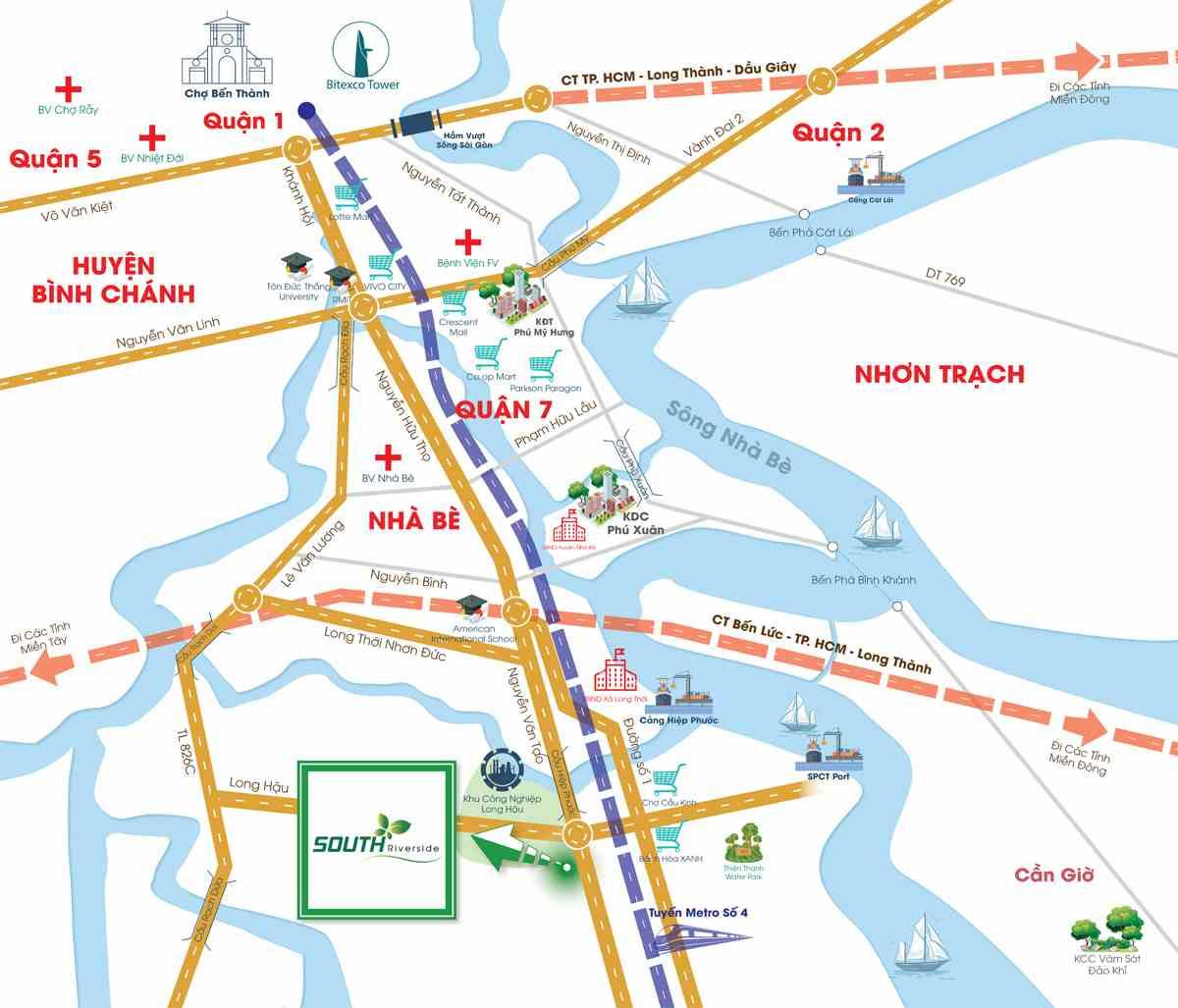 Vị trí Dự án đất nền khu dân cư South Riverside Nhà Bè Quận 7