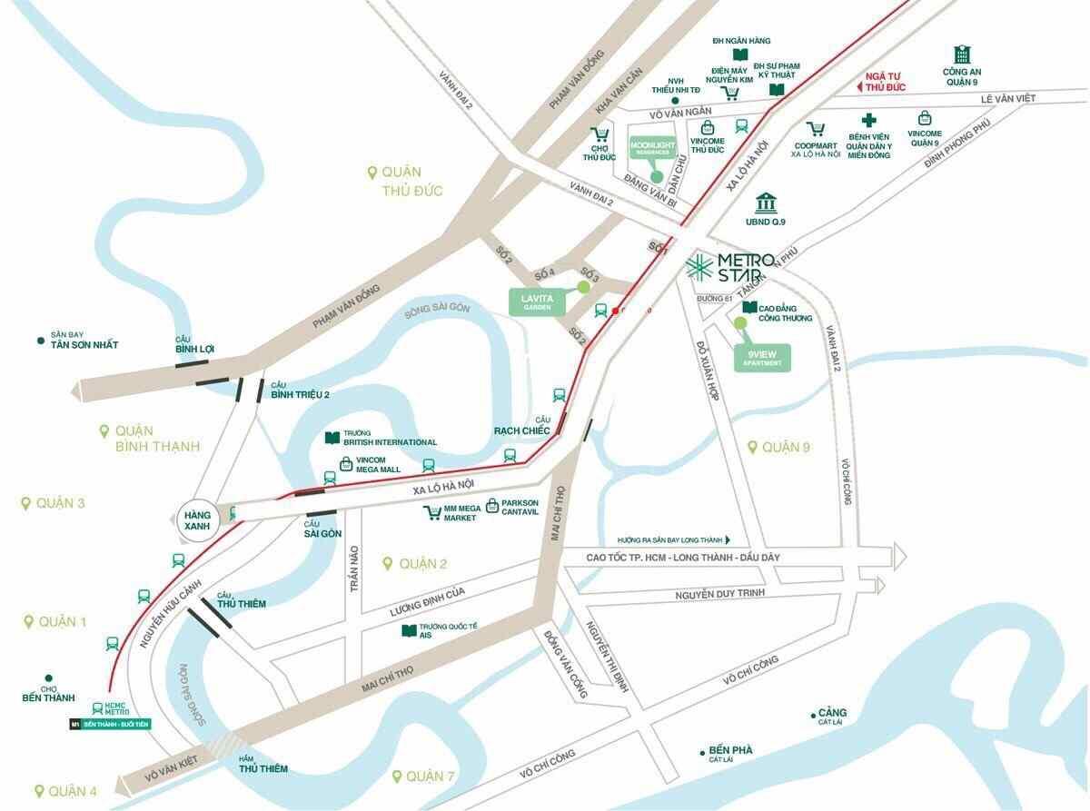 Vị trí Dự án căn hộ chung cứ Metro Star Xa Lộ Hà Nội Quận 9