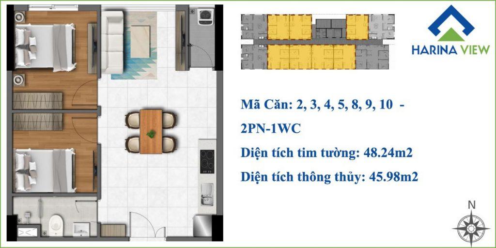 Harina View Thủ Đức - Thiết kế 2PN 1WC căn hộ chung cư