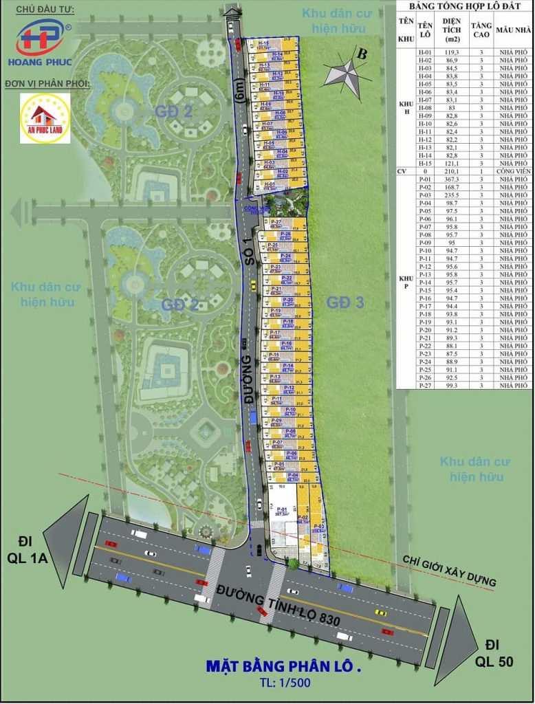 Hoàng Phúc Garden - Mặt bằng phân lô dự án đất nền