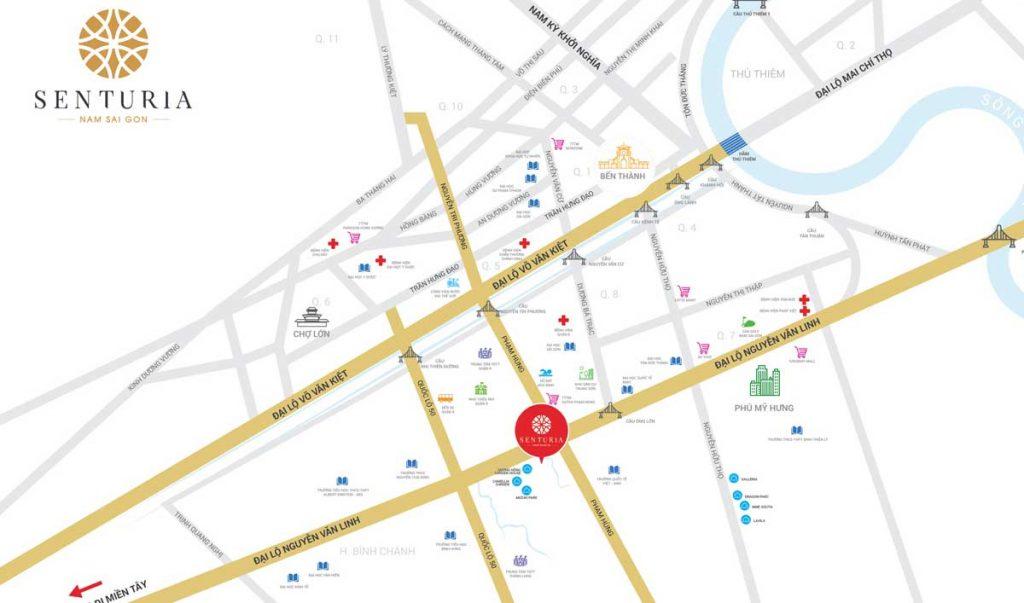 Senturia Nam Sài Gòn - Quận 7 Bình Chánh - Vị trí dự án nhà phố + biệt thự