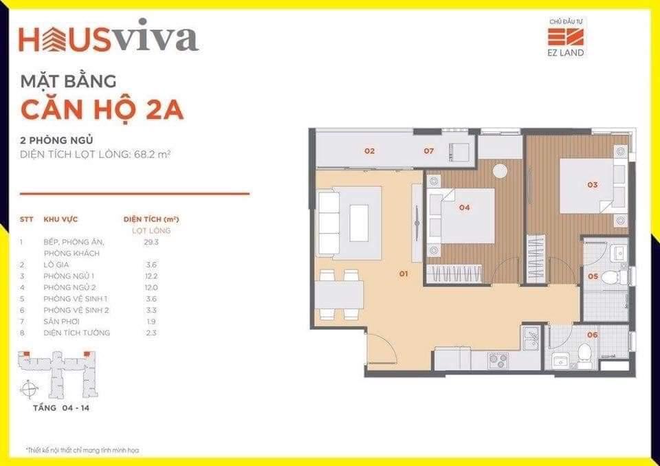 Hausviva Lò Lu Quận 9 - Thiết kế căn hộ 2A