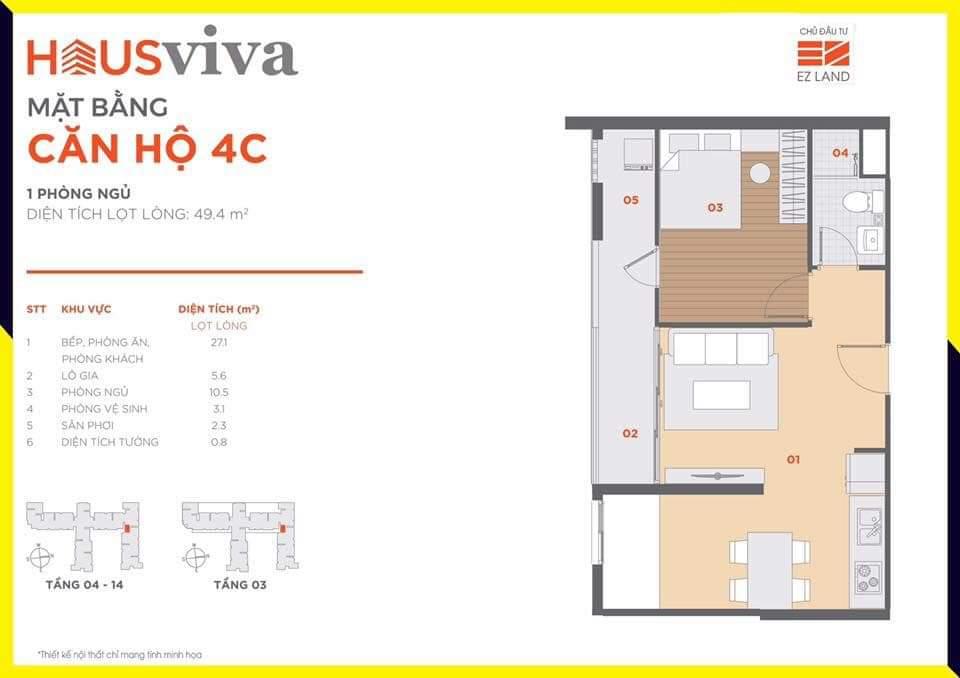 Hausviva Lò Lu Quận 9 - Thiết kế căn hộ 4C