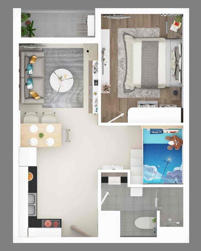 The East Gate Bình Dương - Chủ đầu tư Kim Oanh - Thiết kế 45m2 dự án căn hộ
