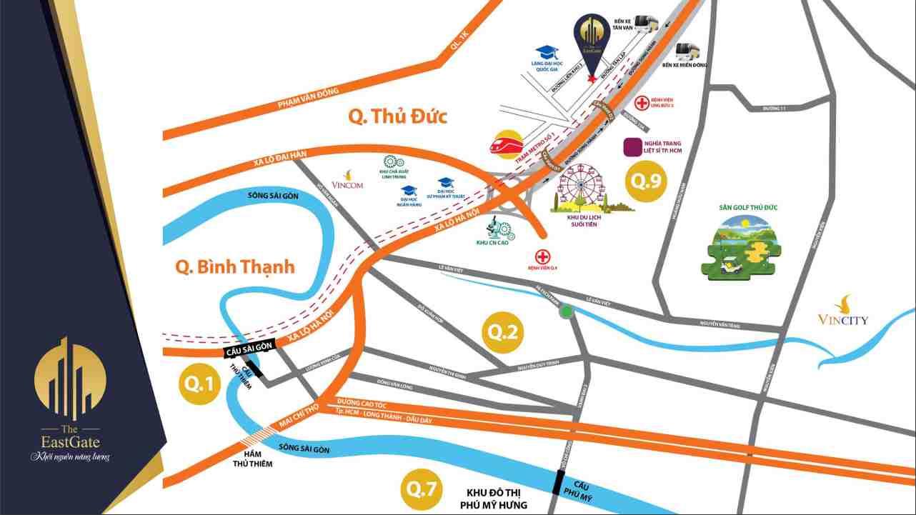 The East Gate Bình Dương - Chủ đầu tư Kim Oanh - Vị trí Tổng quan dự án căn hộ