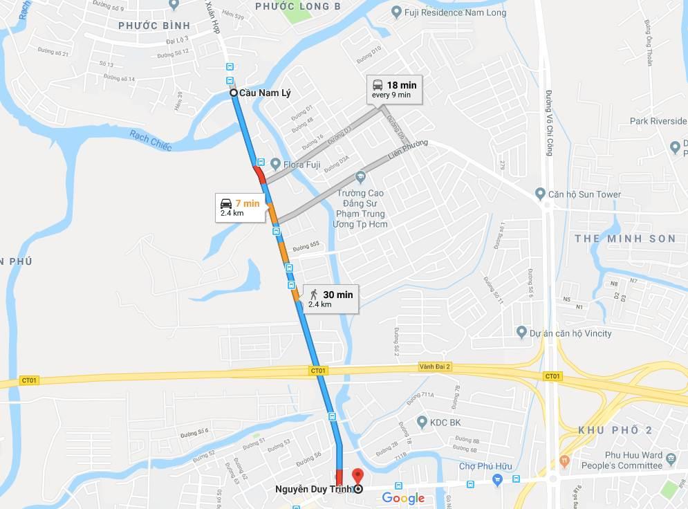 Vị trí - Các Chung cư căn hộ đường Đỗ Xuân Hợp Quận 9