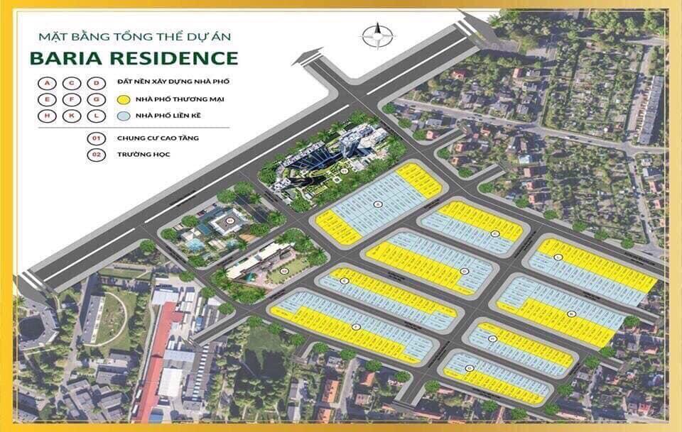 Baria Residence - Mặt bằng phân lô tổng thể