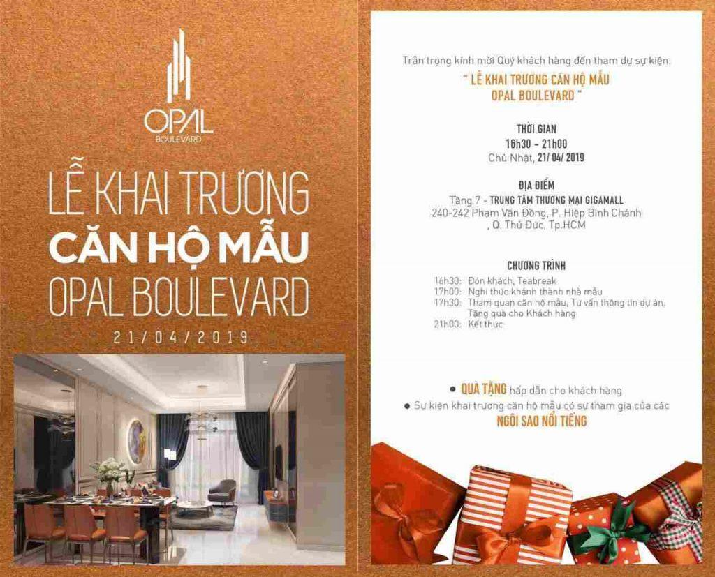Opal Boulevard _ lễ khai trương căn hộ mẫu ngày 21/4/2019